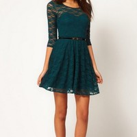 Belted Half Sleeve Dress - Dark Green