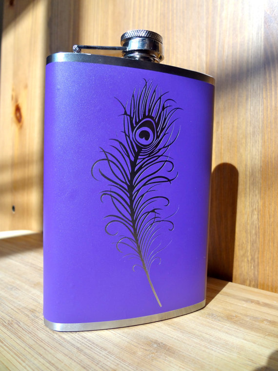 Peacock Feather Flask alcohol liquor booze wedding by EyvalDecal