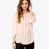 Lace Collar Georgette Top | FOREVER 21 - 2000049531