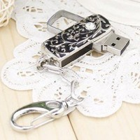 8GB Black and Silver Thorn Design with Crystal USB flash drive(with keychain)