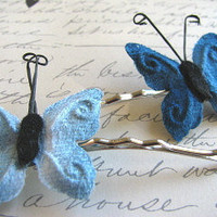 Handmade Bobby Pins, Butterfly, Shades of Blue, Under 10 Dollars