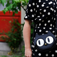 Original handmade Black Cat Leather Bag, Cat Bag, Cat face, Animal Bag, Shoulder bag