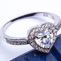 PROMISE LOVE HEART! Russian CZ Heart .925 Sterling Silver Ring Sizes 5-9