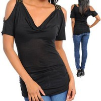 Amazon.com: G2 Chic Cowl Neck Cut Out Sleeves Sexy Top: Clothing
