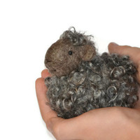 Needle Felted Sheep - Natural grey wool lamb - needle felted animals