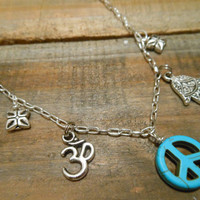 Peace Sign Necklace - Necklace - Silver Hamsa Hand, Ohm Necklace - Turquoise