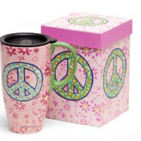"Ceramic Coffee Travel Mug with Lid - Peace Sign Design - Comes Gift Boxed - 19 Oz - 6.25"" Tall"