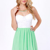 Pleat Your Case White and Mint Green Dress