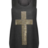 Pilot Studs Cross Vest Top in Black