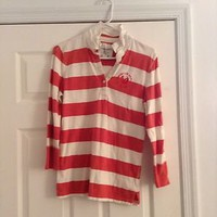 American Eagle Polo Shirt Size Large Orange And White Stripes