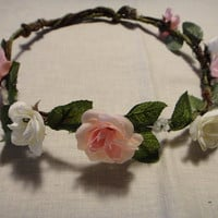 Beautiful Light Pink and White Rose Floral Crown