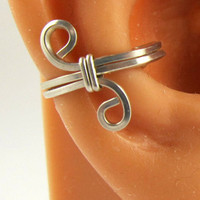 Sterling Ear Cuff Square Wire Handwrapped by RazzleDazzleMe