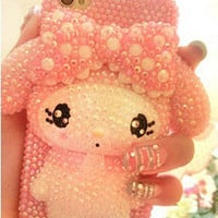 3D Cute Pink Handmade Melody Characte Bling Case Skin For Apple iPhone 4 4S M02