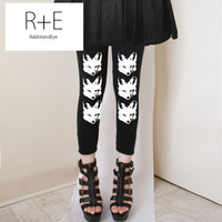 3 Clever FOXES Womens Black Leggings Style by rabbitandeye on Etsy