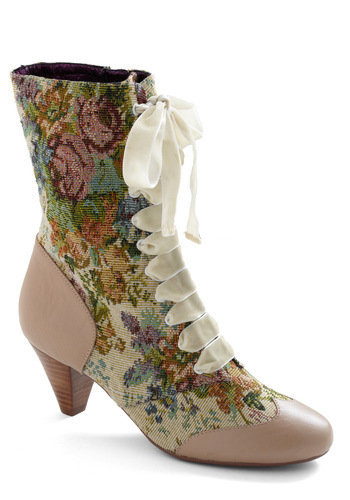 What's on Tapestry Boot in Bone | Mod Retro Vintage Boots | ModCloth.com