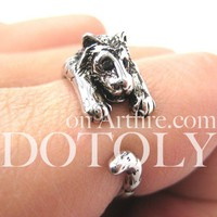 Miniature Tiger Animal Wrap Ring in SHINY Silver - Sizes 4 to