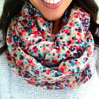 Spring Floral Infinity Scarf in Tan with Coral and Blues