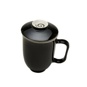 The Tea Spot Steeping Mug, 3-Piece Handcrafted Porcelain Tea Mug with Infuser & Lid, 16-Ounce, color: Black