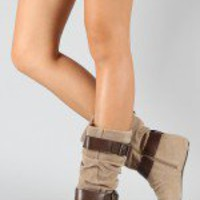 Breckelle Boston-15 Suede Buckle Slouchy Boot