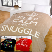 Faux Fur Throw Blanket - Keep Calm & Snuggle on eBay!