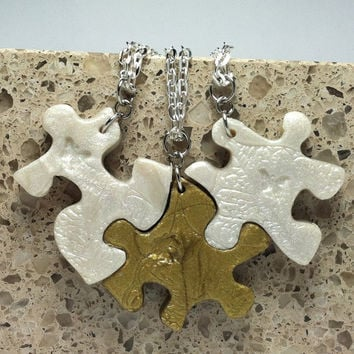 Mother and Daughters Puzzle Necklace Set 3 Necklaces