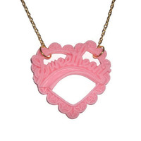 Sweetheart Necklace, Pink Kawaii Cute Heart Pendant