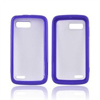 Buy Motorola Atrix 2 Hard Back Case w/ Gummy Crystal Silicone Lining - Purple/ Frost White w/ Free Shipping AccessoryGeeks