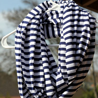 Blue Striped scarf - Blue and White Sailor scarf - striped infinity scarf