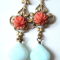 Earrings Peruvian Opal Blue Pink Flower by SimoneSutcliffe on Etsy