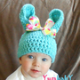 Baby Easter Bunny Hat Pastel Blue Easter Bunny Multicolor Polka Dot Bow Baby Girl
