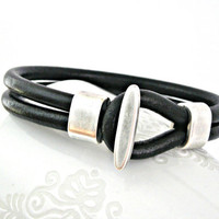 Black leather bracelet toggle clasp zamak by TyssHandmadeJewelry