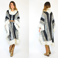 shaggy FRINGED bohemian VERTICALLY striped baja beachy PONCHO cape, one size fits all