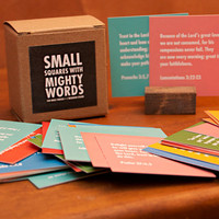 Small Squares With Mighty Words: 100 Bible Verses and 1 Wooden Stand