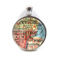 Vintage Map Pendant of Detroit, Michigan, in Glass Tile Circle