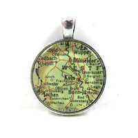 Vintage Map Pendant of Cologne, Germany, in Glass Tile Circle