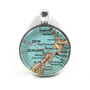 Vintage Map Pendant of New Zealand in Glass Tile Circle