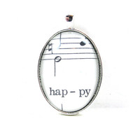 Music Note Pendant with Happy from Vintage Music Sheet, in Glass Tile Oval