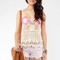 Crochet Lace Tank Top in Ivory :: tobi