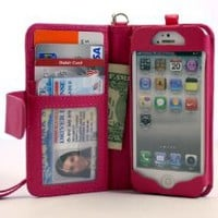 Amazon.com: Navor iPhone Life Protective Deluxe Book Style Folio Wallet Leather Case with Removable Strap for iPhone 5 Multifunctional - Hot Pink: Cell Phones &amp; Accessories