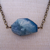 Blue Moon  Chunky Blue Agate Geode Drusy