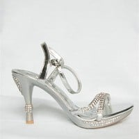 Sweetheart Rhinestone Strappy Heels - Silver from Forever Link at Lucky 21 Lucky 21