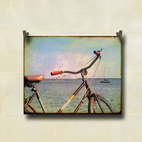 Vintage Bicycle Photography Waterfront Sailboat 8 by EyeCaptureArt