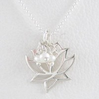 "Open Design Lotus Flower Pendant in Sterling Silver with Pearl Gemstone Beads on a 16"" Bead Chain, #8356: Jewelry: Amazon.com"