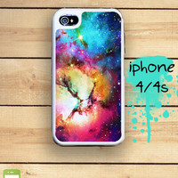 Capusle iPhone 4S / 4 Silicon and Hard Plastic 3 Part Phone Case / Unicorn Space Nebula  Fits IPhone 4 and IPhone 4S