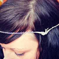 silver bird chain head piece, chain headband, bird headband, metal headband, unique headband
