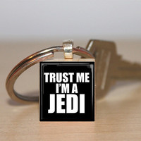 Scrabble Tile Keychain Trust Me I'm A Jedi  by IncrediblyHip