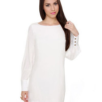 Long Sleeve Dress - White Dress - Shift Dress - $38.00