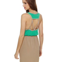 Color Block Dress - Teal Dress - Taupe Dress - $37.50