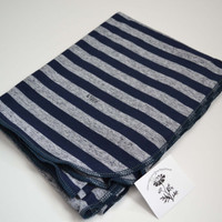 Swaddler baby blanket.  Size 31 by 40 inches.   Colors- Navy blue on blue stripes with navy edging.   Made by lippy brand.