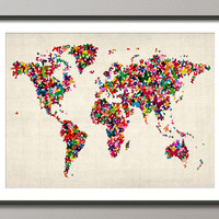 Butterflies Map of the World Map Art Print on Etsy